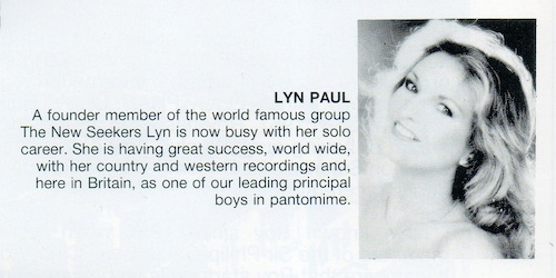 A Starlit Night Of Variety - brief biography of Lyn Paul.