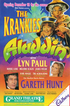 Aladdin, Grand Theatre Wolverhampton (leaflet featuring The Krankies, Lyn Paul and Gareth Hunt).