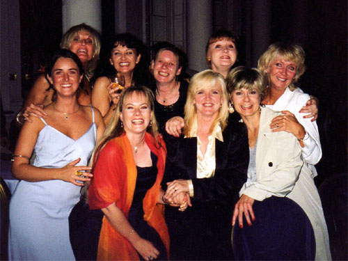 Lyn Paul pictured with all the Mrs. Johnstones.