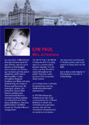 Biography of Lyn Paul from the Blood Brothers programme (Birmingham Hippodrome, 2006).
