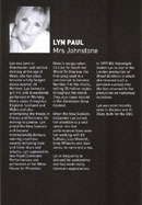 Biography of Lyn Paul from the Blood Brothers programe (Empire Liverpool, 2002).