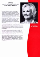 Biography (insert) of Lyn Paul from the Blood Brothers programme (week commencing 7th August 2000).
