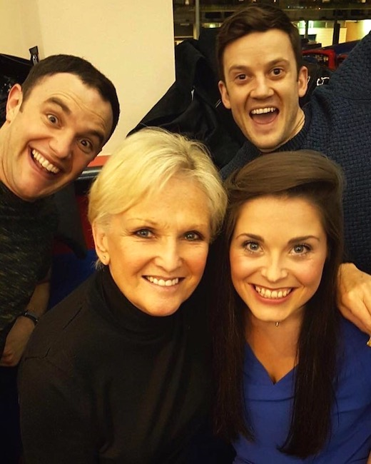 Lyn Paul with Laura Harrison (Donna Marie / Miss Jones), Josh Capper (Neighbour) and Henry Regan (Perkins) at the Lighthouse Theatre, Poole.