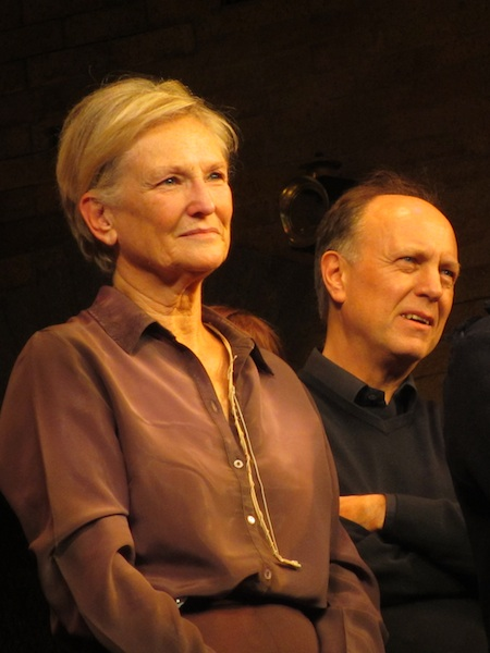 Lyn Paul listening to Bill Kenwright as he addresses the audience after the final performance of Blood Brothers.