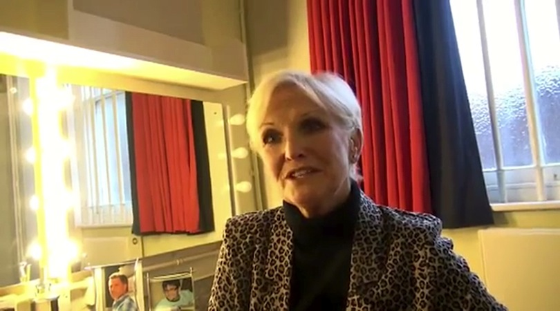Lyn Paul being interviewed in Dressing Room No. 3 at the Grand Theatre, Wolverhampton.