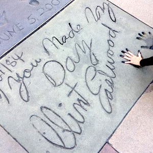 Lyn Paul 'hand in hand' with Clint Eastwood on Hollywood's Walk Of Fame.