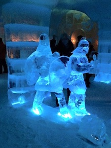 Ice sculptures at the Ice Hotel.