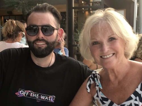Lyn Paul pictured on holiday with her son, Ryan Young.