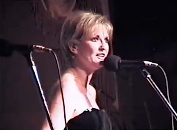 Lyn Paul performing 'I Will Survive' at the West End Cares cabaret, 1998.