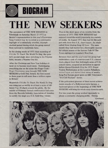 New Seekers' Biogram.