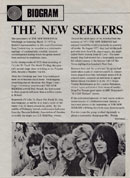 New Seekers' Biogram. Click for the full-size image.