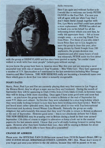 New Seekers' Official Fan Club Newsletter, Autumn 1973.