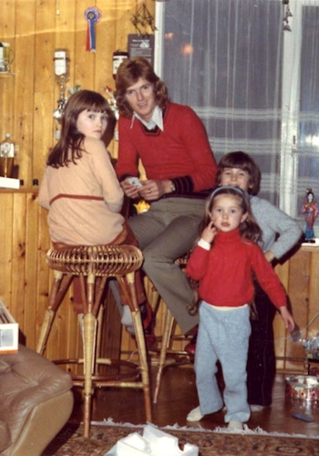 Peter Doyle with Lyn Paul's sisters Mandy, Kathy and Nikki - photo taken in Theale, 1972.