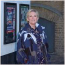 Lyn Paul at the Stage Door of the Phoenix Theatre.